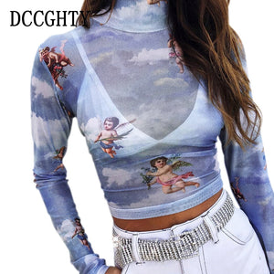 DCCGHTY Cute Angel Printed Turtleneck Short Women T shirts Transparent Sexy Mesh Slim Black Women Tees Shirt Long Sleeve Tops