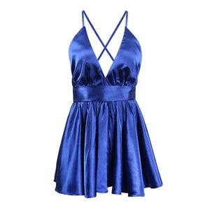 Satin Pleated Party Club Dress 2018 V Neck Women Summer Dresses Sexy Back Cross lace Up Bow Tie Strap Dresses female Mini Vestid