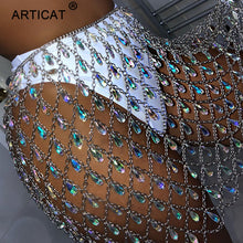Load image into Gallery viewer, Articat Metal Glitter Crystal Diamonds Skirt Women High Waist Hollow Out Sequin Bodycon Mini Skirt Nightclub Party Skirt Outfits