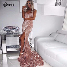 Load image into Gallery viewer, Ohvera Elegant Long Maxi Dress Women Solid Strpaless Summer Dress Party Backless Split Sexy Sequin Dress Vestidos