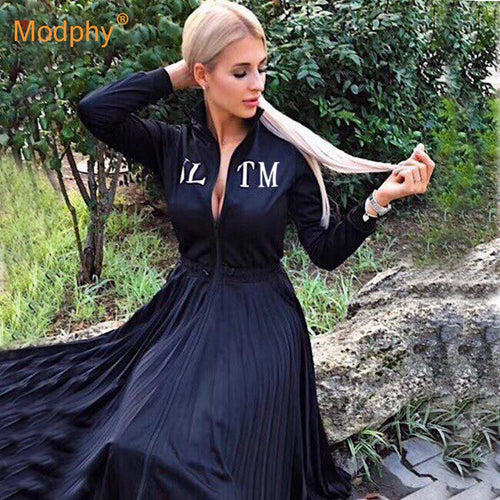 2019 Women's Black Elegant Pleated Dress Long Sleeve Stand Collar Front Zipper High Waist Casual Dress Celebrity Party Vestidos