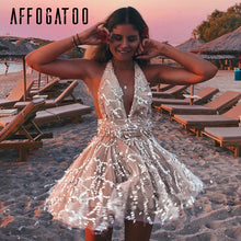 Load image into Gallery viewer, Affogatoo Sexy deep v neck backless sequin jumpsuit women High wasitmesh short party jumpsuit Elegant sash tassel romper overall