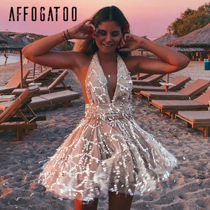 Affogatoo Sexy deep v neck backless sequin jumpsuit women High wasitmesh short party jumpsuit Elegant sash tassel romper overall