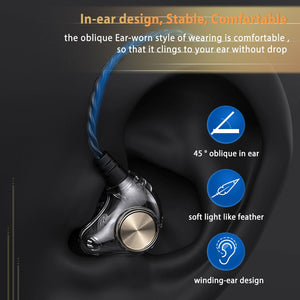 Transparent In-Ear Wired Earphone Subwoofer Stereo Bass Earbuds with Mic