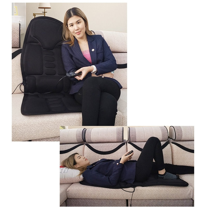 Full-Body Back Neck Waist Infrared Therapy Heated Massage Electric Vibrator Cushion Seat