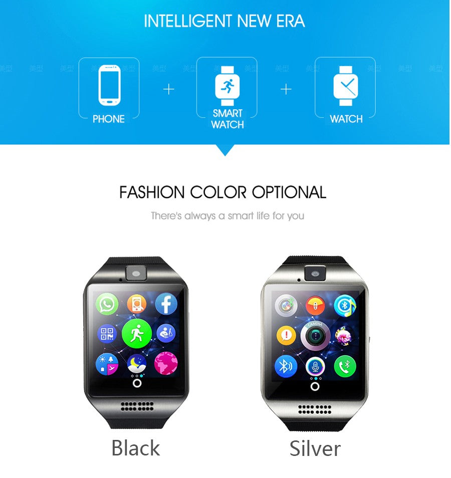 Bluetooth Smart Watch Men Q18 with Camera Facebook Whatsapp Twitter Sync SMS