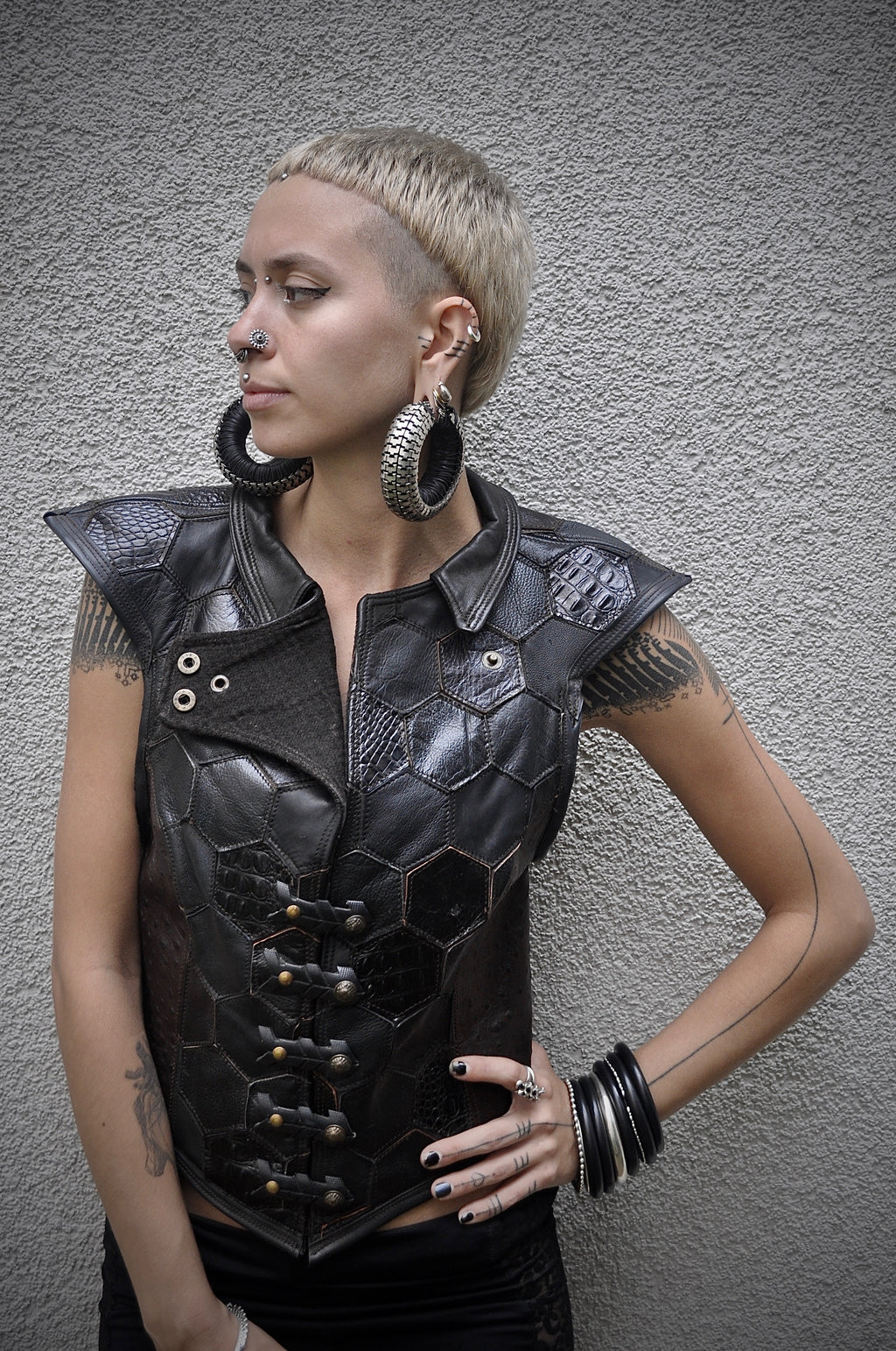 Hexagonal Shades of Black Vest