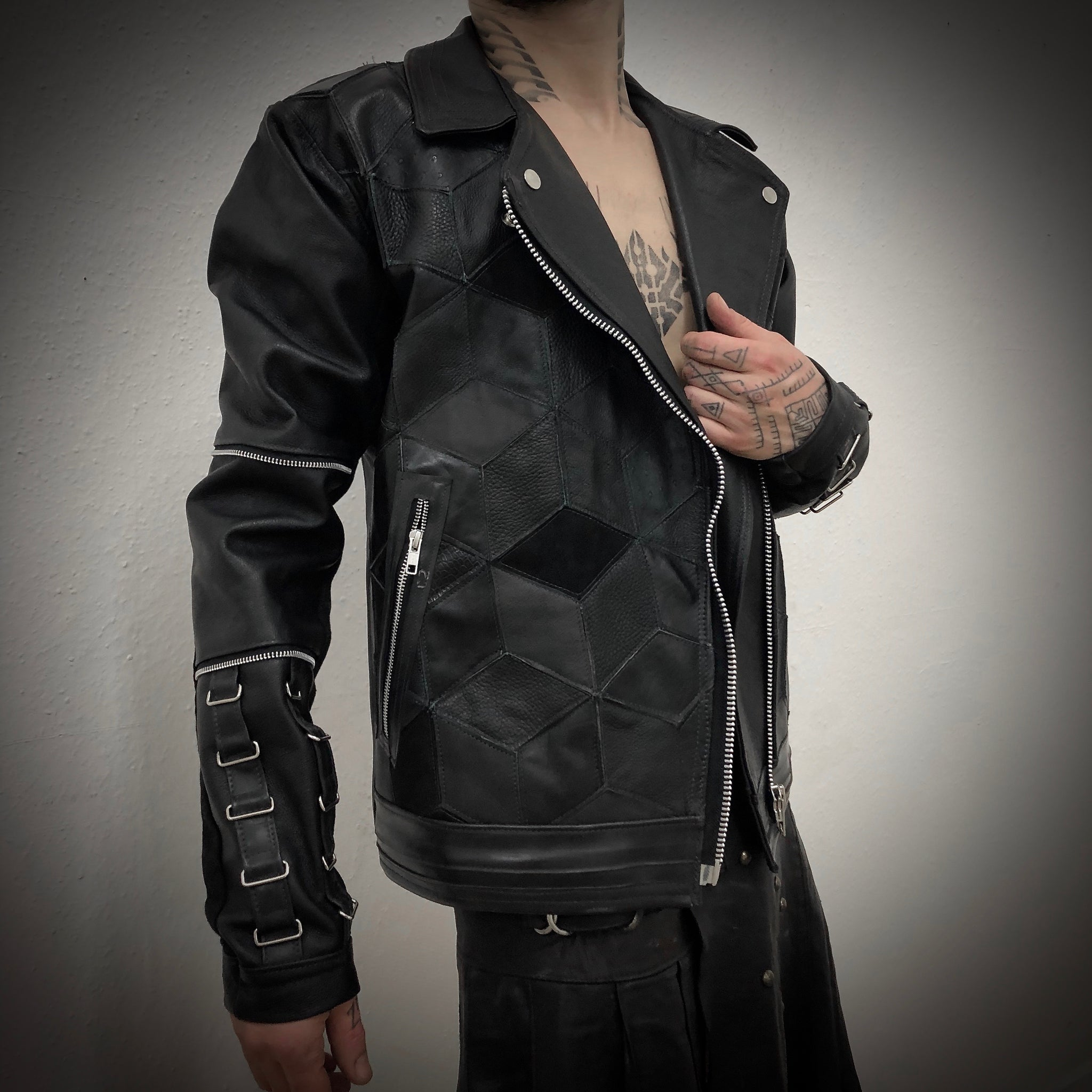 Hexagonal Shades of Black Jacket