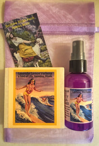 Lavender Lemon Verbena Goat Milk Soap and 2 oz Mist in Organza Bag