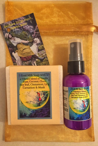Hawaii Kai Goat Milk Soap and 2 oz Mist in Organza Bag