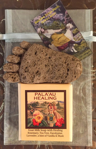 Pala'au Healing Goat Milk Soap with Hand-Carved Pumice Foot in Organza