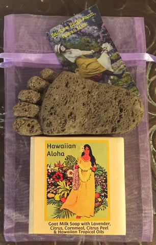 Hawaiian Aloha Lavender Citrus Goat Milk Soap with Hand-Carved Pumice Foot in Organza