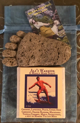 Ali'i Warrior Goat Milk Soap with a Hand-Craved Pumice Foot in an Organza Bag.