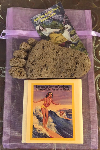 Lavender Lemon Verbena Goat Milk Soap with Hand-Carved Pumice Foot in an Organza Bag