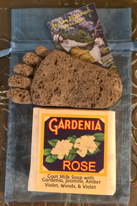 Gardenia Rose Goat Milk Soap with Hand-Carved Pumice Foot in an Organza Bag