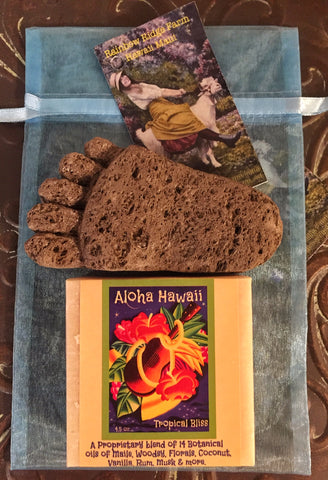 Aloha Hawaii Tropical Bliss with Hand-Carved Pumice Foot in an Organza Bag