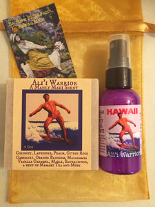 Ali'i Warrior A Manly Maui Scent Goat Milk Soap and Mist 2oz in a Sheer Organza Bag