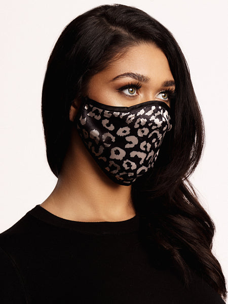 Face mask Leopard Black/White