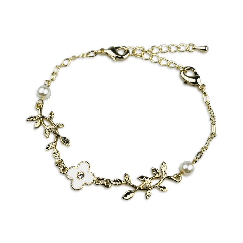 【LOT14-2008-0015】《2way Mask Chain》Flower & Leaf (Bracelet)