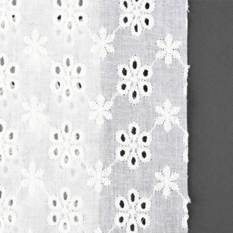 【NO-01106-WH】Embroidery Lace Cotton Fabric(1106) White