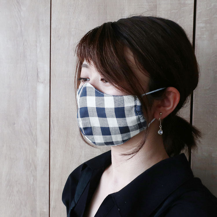 【RS-291】《three-dimensional mask》DIY Homemade Mask Set / Double Gauze Fabric / Block check