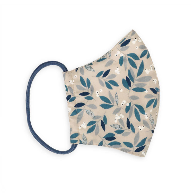 RS-373 《Finished Product / 3D》 Cloth Mask  / Cotton / Nordic Leaf Blue