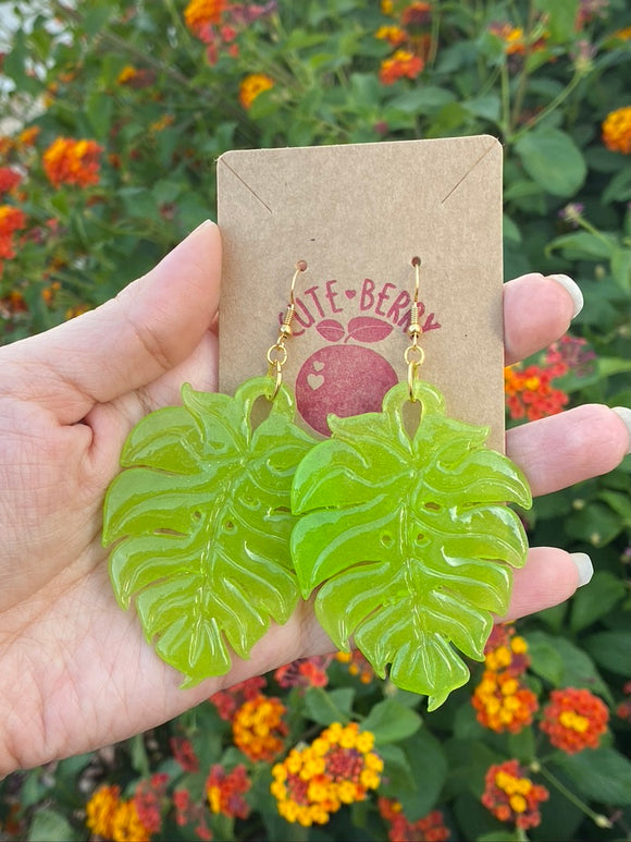 Resin Large Monstera Leaf Dangle Earrings - Cute Berry Jewelry