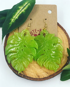 Small Monstera Leaf Dangle Earrings Resin Multiple Colors with Nickel Free Findings - Cute Berry Jewelry