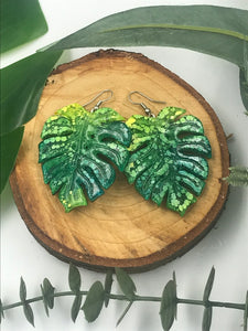 Resin Green Ink Drop Monstera Leaves - Cute Berry Jewelry