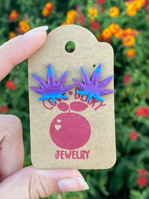 Clay Weed Leaf Striped Purple and Blue Marijuana 420 Stud Earrings Studs - Cute Berry Jewelry