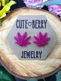 Resin 420 Weed Leaf Studs - Multiple Colors Available || 420 Stoner Gift || Handmade Marijuana Jewelry || Cannabis - Cute Berry Jewelry