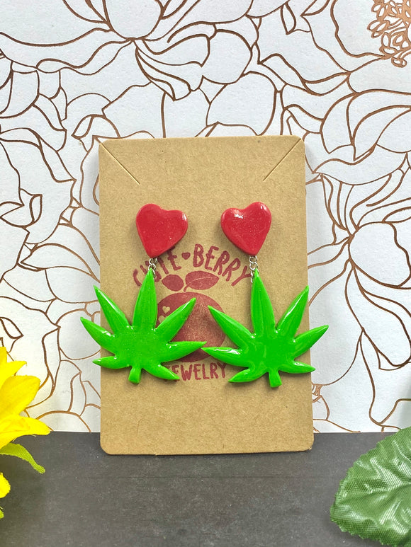 Small Clay Green Weed Leaf Dangle with Red Heart Stud Earrings || 420 Stoner Gift || Handmade Marijuana Jewelry || Cannabis - Cute Berry Jewelry