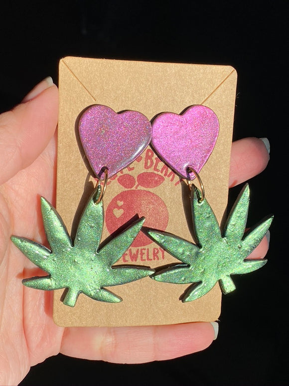 Clay Chrome Weed Leaf Marijuana Dangle Earrings with Heart Stud - Cute Berry Jewelry