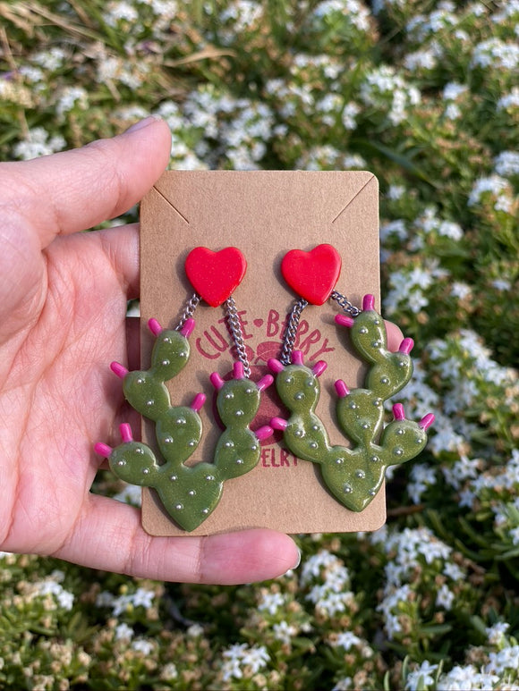 Cute Clay Jade Prickly Pear Cactus Dangle Earrings - Cute Berry Jewelry