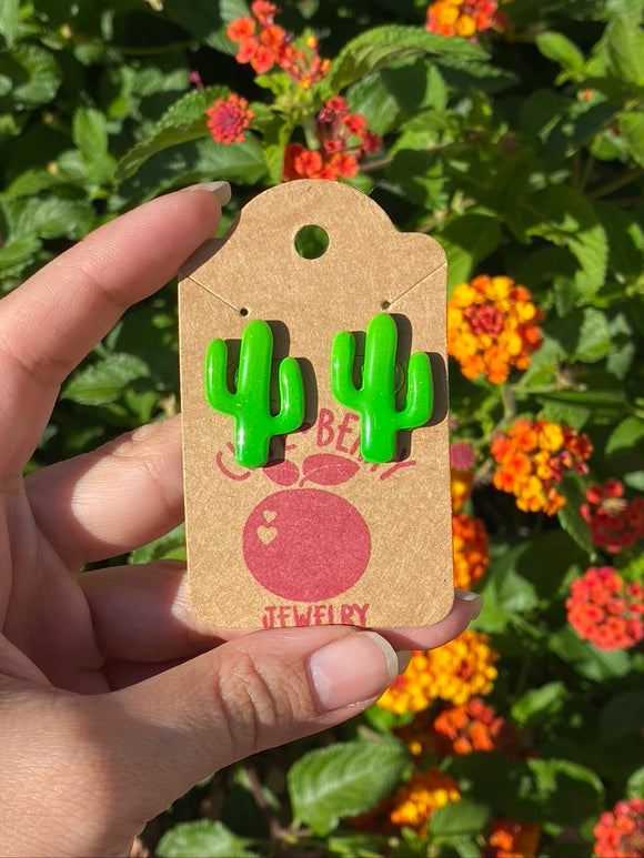 Cute Clay Green Cactus Stud Earrings Studs - Cute Berry Jewelry