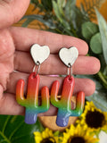 Cute Clay Small Rainbow Cactus Dangle Earrings with Heart Stud - Cute Berry Jewelry