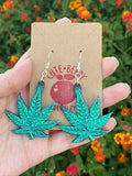 Shiny 420 Metallic Large Resin Weed Leaf Dangle Earrings Multiple Colors Available || 420 Stoner Gift || Handmade Marijuana Jewelry || Cannabis - Cute Berry Jewelry