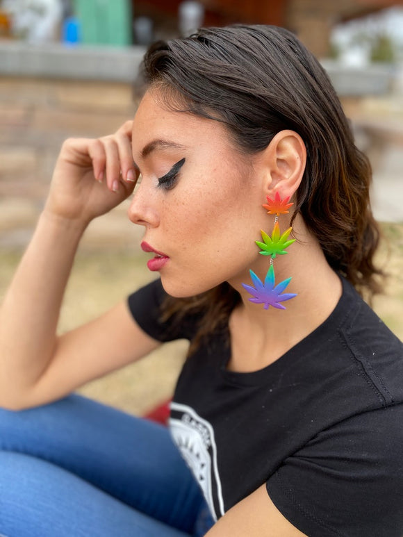 Clay Weed Leaf Rainbow Triple Marijuana Dangle Earrings - Cute Berry Jewelry