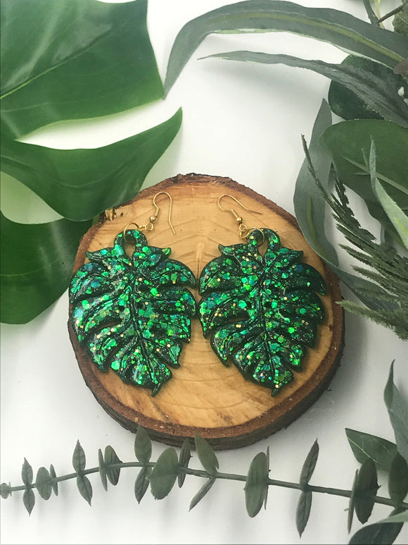 Sparkly Green Glitter Large Monstera Leaf Dangle Earrings Resin Nickel Free - Cute Berry Jewelry
