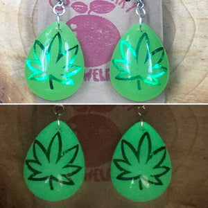GLOW in the DARK 420 Weed Leaf Neon Green Marijuana Earrings Stoner Gift - Cute Berry Jewelry