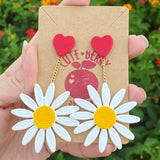 Cute Resin White Daisy Dangle Earrings with Heart Stud - Cute Berry Jewelry