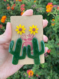 Resin Large Cactus Dangle with Sunflower Stud - Cute Berry Jewelry
