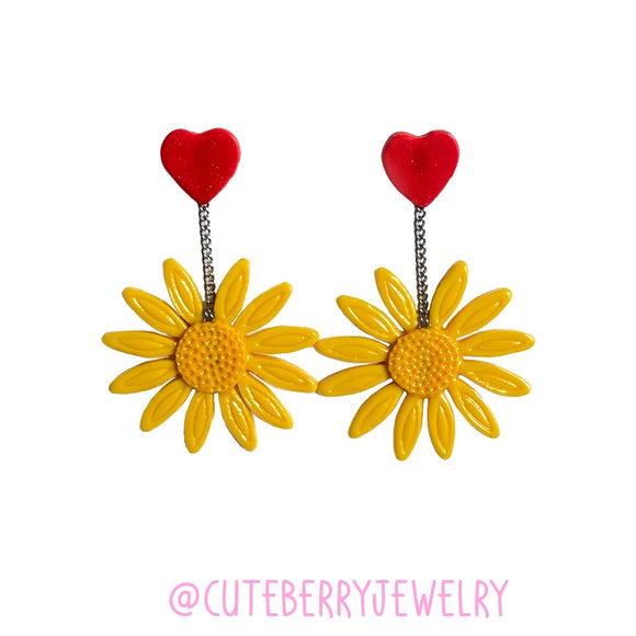 Clay Yellow Daisy Dangle Earring with Heart Stud - Cute Berry Jewelry