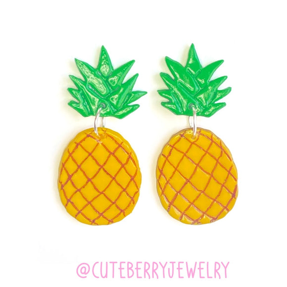 Cute Clay Pineapple Two Piece Earrings 🍍🍍🍍 - Cute Berry Jewelry