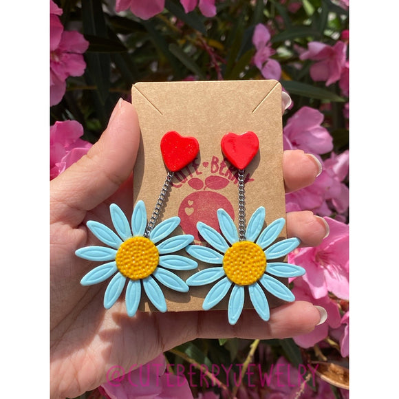 Clay Cornflower Blue Dangle Earrings with Heart Stud 💙💙💙 - Cute Berry Jewelry