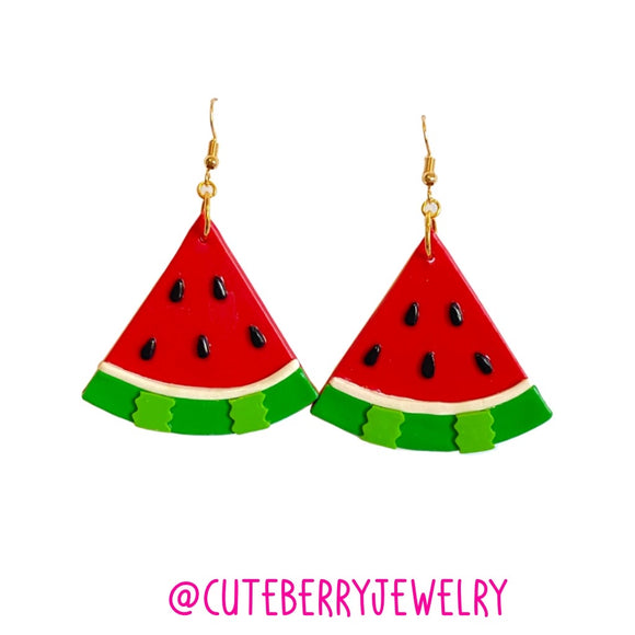 Cute Clay Red Watermelon Dangle Earrings 🍉🍉🍉 - Cute Berry Jewelry