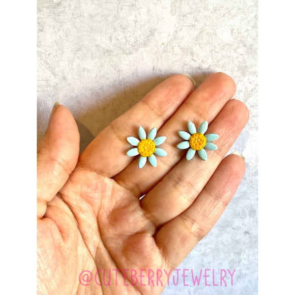 Cute Clay Cornflower Blue Stud Earrings - Cute Berry Jewelry