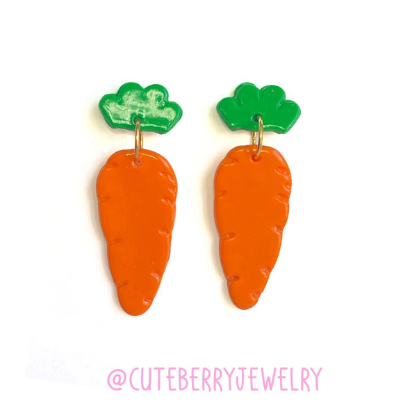 Clay Carrot Cute Two Piece Earrings 🥕🥕🥕 - Cute Berry Jewelry