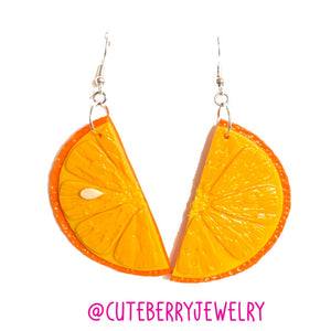 Cute Clay Orange Citrus Dangle Earrings 🍊🍊🍊 - Cute Berry Jewelry
