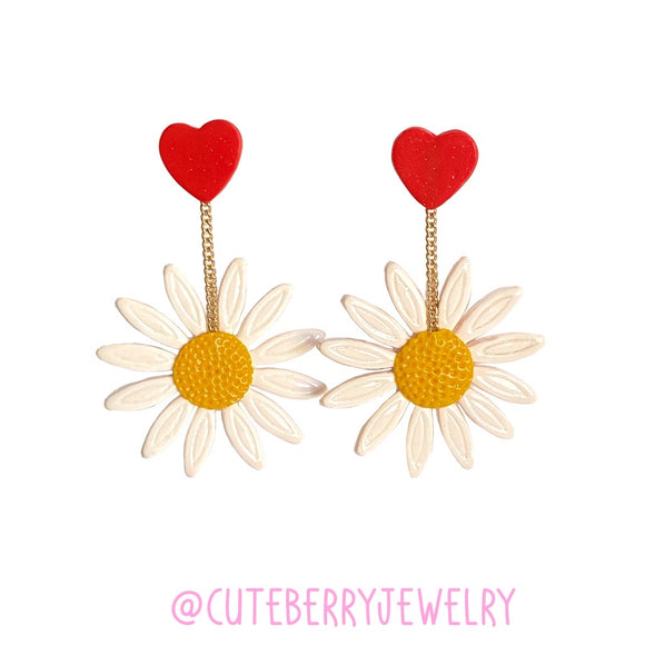 Cute Clay White Daisy Dangle Earrings with Heart Stud - Cute Berry Jewelry